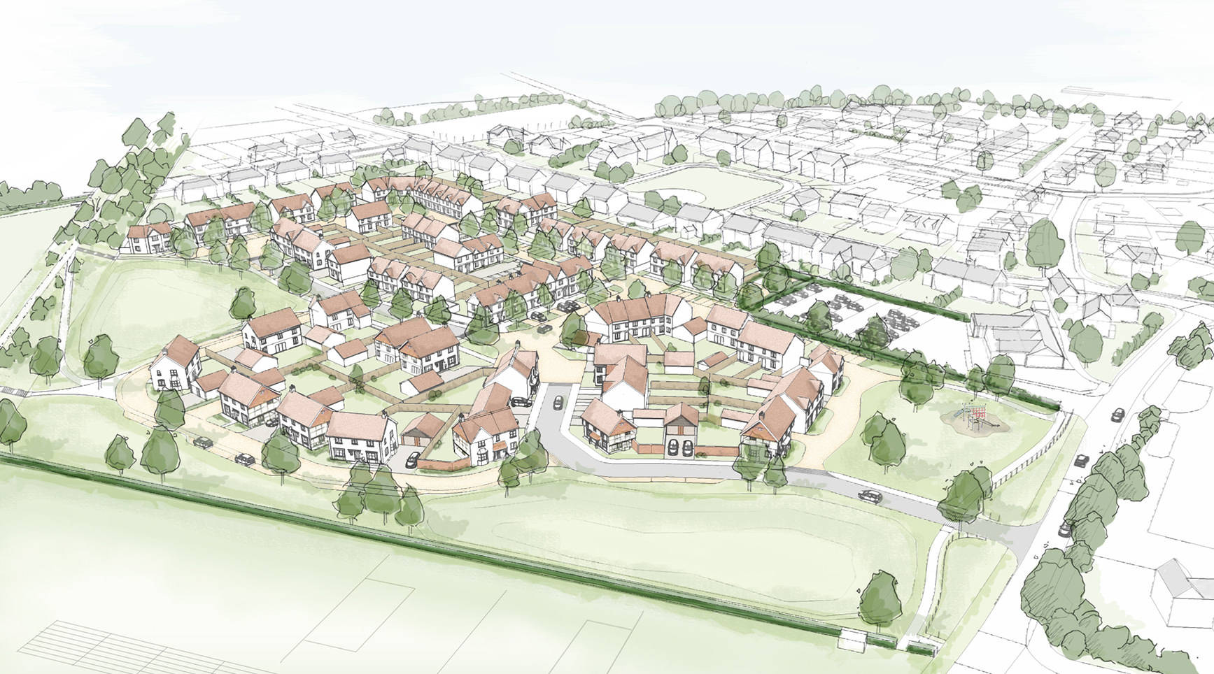East Hagbourne Aerial Perspective